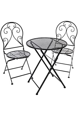 elbmöbel Set da bistrot con 2 sedie in metallo, colore: nero