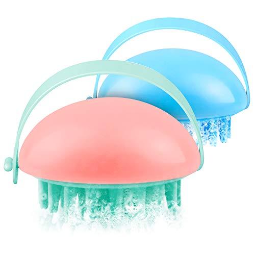 Masajeador de pelo, 2 paquetes de champú manual en seco y mojado, cepillo para eliminar el cabello, exfoliante y desenredante con cinta flexible anti-Slip azul y rosa