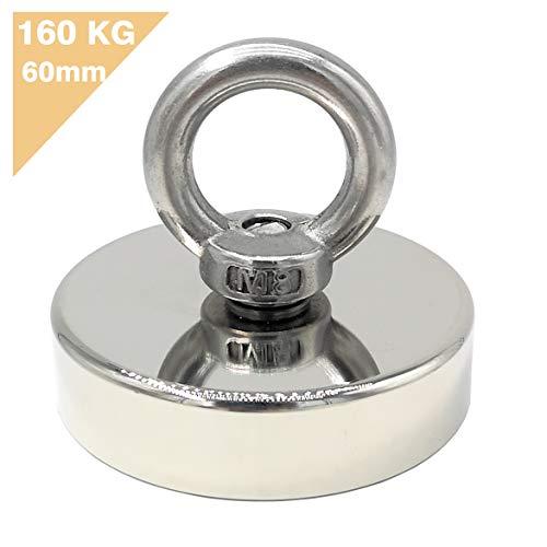 Magnetpro - Imán de neodimio con ojales, 160 kg, imán de potencia, perfecto para pesca magnética, 60 mm de diámetro con ojales, imán de neodimio
