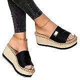 KaO0YaN Estate 1 parola pantofole spessore fondo pendio con grandi dimensioni sandali moda usura usura-nero_EU39zeppa open toe pantofole