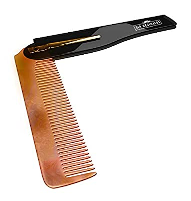 Sir Reginalds Beard And Moustache Comb - Small Portable Foldable Pocket Comb - Professional Grooming For Gentleman