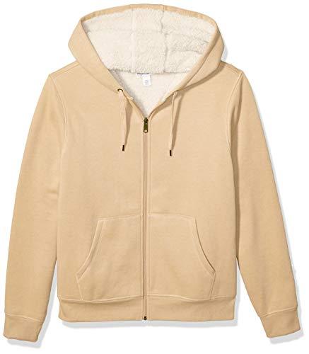Amazon Essentials Men#039s Sherpa Lined FullZip Hooded Fleece Sweatshirt Camel Heather Medium