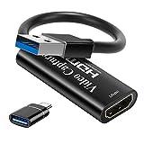 Tarjeta de Captura de Video HDMI 4K, Tarjeta de Captura de Juegos USB 3.0 Adaptador de Captura de 1080P para transmisión, enseñanza, videoconferencia o transmisión en Vivo (Negro)