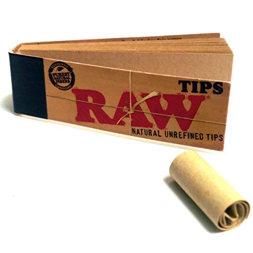 Raw v Rolling Papers Unbleached Filter 5 Pack = 250 Tips, 50 Count (Pack of 5)