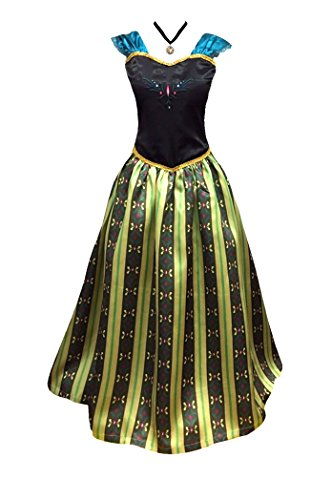 Cokos Novelty Damen Krönungskleid Kostüm Prinzessin Halskette (M (mittel) - Olive)