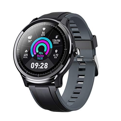 JISKGH Reloj Inteligente 1.3 Pulgadas Pantalla Retina Redonda de Ajuste Completo Reloj Ip68 Impermeable para Escalada Deportes Al Aire Libre Gris