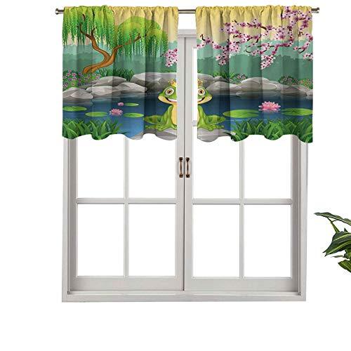 Hiiiman Cortinas cortas y elegantes con bolsillo para barra, diseño de ranita con un bonito príncipe cerca del lago, juego de 1, 137 x 45 cm, decoración para cuarto de baño, dormitorio, sala de estar