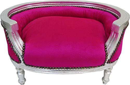 Casa Padrino Barock Hunde & Katzen Sofa Pink/Silber - Hundesessel Sitz Hundebett Katzenbett Hund Katze Möbel