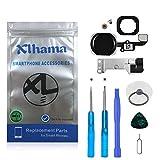 Xlhama Botón Home para iPhone 6S / 6S Plus Cable Flexible, Soporte de Metal preinstalado Kit Desmontaje transformación de reemplazo con Completa + Herramientas Incluidas-Negro