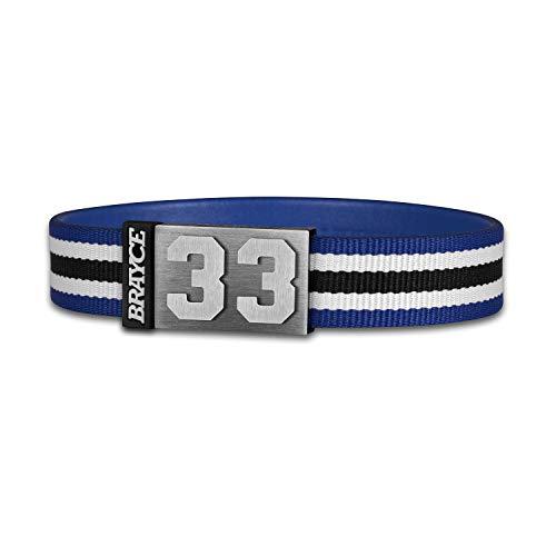 BRAYCE® Trikot am Handgelenk® mit Deiner Trikot Nummer 00-99 I Armband blau, weiß & schwarz I Sportarmband/Teamarmband personalisierbar & handgemacht