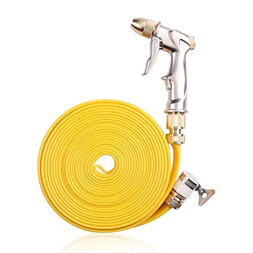 MAATCHH Pistola de Riego Herramienta de Metal Agua Grab Alta presión del Arma de Agua de la Manguera Cabeza telescópica Artefacto Conjunto para Riego de Jardín/Césped (Color : Yellow, Size : 30m)
