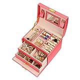 Meerveil Boîte à Bijoux, Coffret pour Bijoux Boîte à Maquillage Bijoux et cosmétique Beauty Case à 3 Couches en Simili Cuir avec 2 Tiroirs, Miroir et Serrure (Rose)