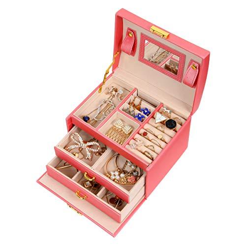 Meerveil Schmuckkästchen, Kosmetikkoffer mit 3 Ebenen, PU Leder, Abschließbarer Schmuckkasten mit Spiegel, Geschenk für Mädchen und Damen (Rosa)