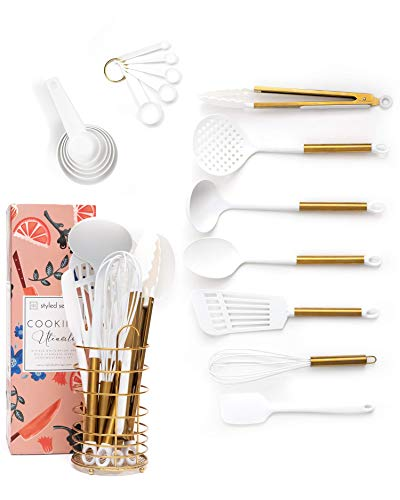 STYLED SETTINGS White and Gold Cooking Utensils with Stainless Steel Gold Utensil Holder - 18-Piece Nylon Kitchen Utensils Set Includes White and Gold Measuring Spoons, White and Gold Measuring Cups