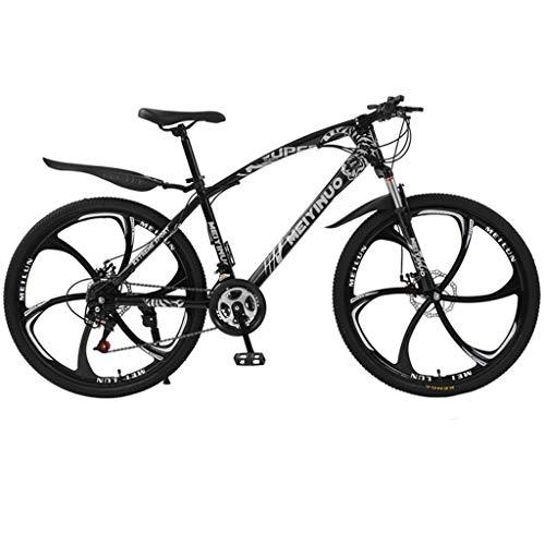 Kohlenstoffreicher Stahl Strong 26 Zoll Mountainbike Fully, geignet ab 150 cm-185cm, Scheibenbremse vorne und hinten, , Vollfederung, Jungen-Herren Fahrrad, mit Vorder- und Hinterschutzblech (schwarz)