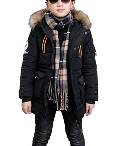 Jungen Jacke Mantel Warm Lang Parka Winterjacke Kunstfell Kapuzen Outwear Wintermantel Oberbekleidung Schwarz 140CM
