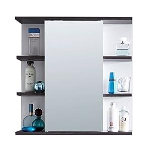trendteam smart living Armario con espejo para baño California, 60 x 60 x 20cm, en blanco, con contraste en plateado ahumado, abundante espacio de almacenamiento y compartimentos abiertos