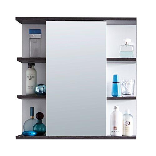 trendteam smart living Badezimmer Spiegelschrank Spiegel California, 60 x 60 x 20 cm in Weiß, Absetzung Rauchsilber mit viel Stauraum und offenem Fächern