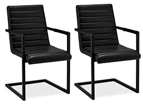 Ibbe Design 2er Set Schwarz Kunstleder Esszimmerstühle Vintage Industrial Freischwinger Küchenstühle mit Armlehnen Anny, Schwarz Metallgestell, 53x66x93cm