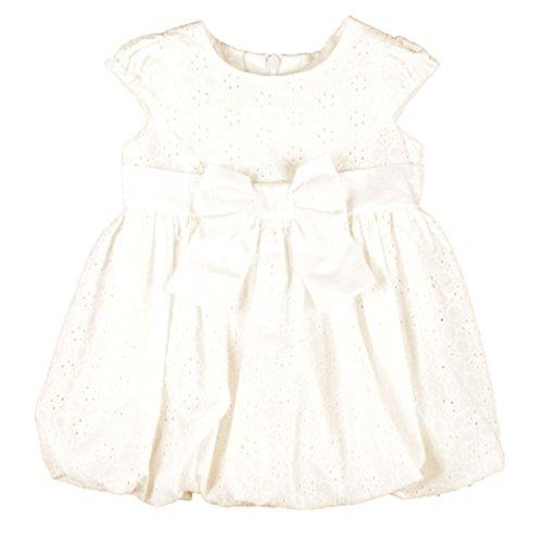MMdadak Mädchenkleid Pop Ballon Kleid Taufkleid festlich elegant Creme weiß Bestickt Modell Gold 4 (110)