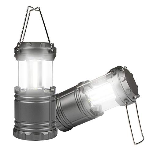 TeqHome LED Camping Lantern, Portable LED Camping Lantern Flashlights Bright LED Tent Light Lightweight, Collapsible for Emergency, Hurricane, Power Outage-Powered by 3 x AA Batteries (Two Pack)