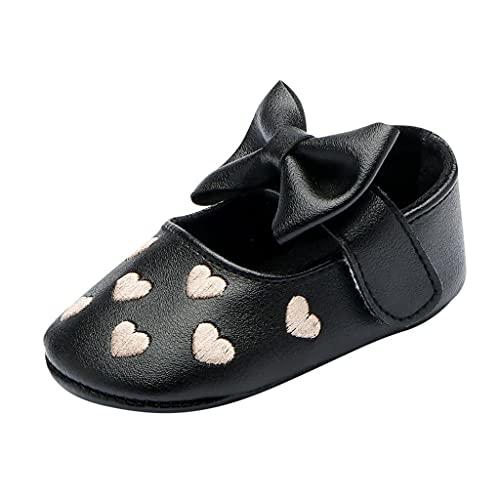 Zapatos para bebé niña o bautizo para niños pequeños, de piel suave, con lazo, zapatos para bebé con forma de corazón, de piel suave, con lazo, antideslizantes., Negro , 11