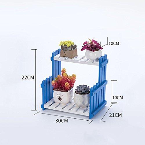 @HUAJIA-jardiniere sur pieds Porte-pot à fleurs, étagères à fleurs multicouches Étagères à étagères en bois massif Étagère à étages Présentoir multifonctionnel ( Color : Blue , Size : 40*21*22CM )