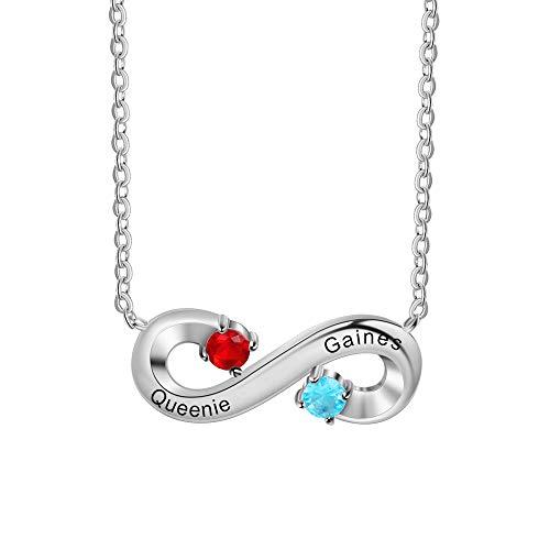 Collar Infinito Personalizado Plata 925 Collar Colgante con 2 Nombres Piedra de Nacimiento Simulada Grabado Madre Regalo para Día de Madre Día de San Valentín