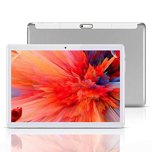 Tablet 10 Pulgadas, Fire HD 10.1 Tablets PC( Android 8.1, 3G, WiFi, Octa Core, 4 GB de RAM, 64 GB de ROM, GPS, Dual SIM Card, 1080P ), (Plata)