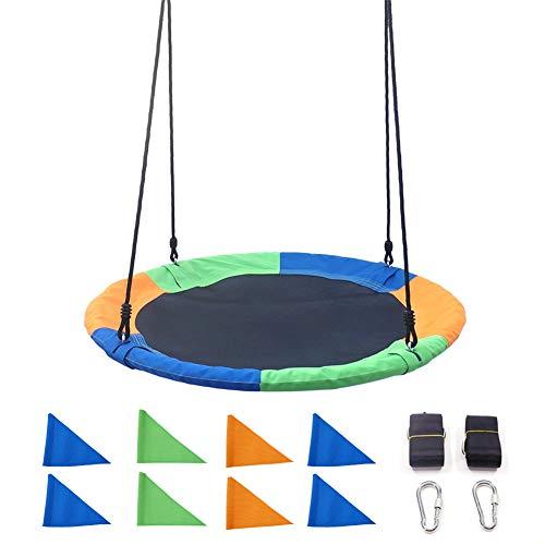 100Cm Diameter Flying Saucer Tree Swing Met 8 Vlaggen, Regelbaar Hangend Touwen, Stalen Frame, Easy Install for Kids Volwassenen