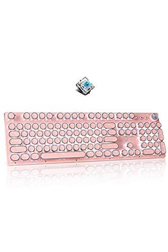 Pink Gaming Keyboard,Retro Punk Typewriter-Style,Cute&Professional Keyboard,30 Lighting Modes with...