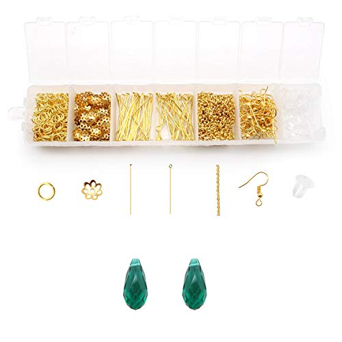 Thing World DIY Earring Kit Includes Earplugs, Ear Hooks, Extension Chains, Nine-Shaped Needles, T-Shaped Needles, Torus, Closed Loops, and 2 Crystal Pendants