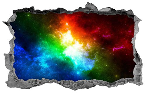 3D Wall Sticker, Removable Wall Mural Decals, Wallpaper Art Decor, Rainbow, Space Galaxy, Sticker, Galaxy, Wall Art, Decal, Space - 22' at The Longest End