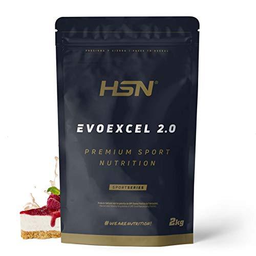 Whey Protein Isolate + Concentrate de HSN Evoexcel 2.0 | Batido de Proteínas con Enzimas Digestivas + Probióticos + Calostro | Vegetariano, Sabor Tarta Queso Frutas del Bosque, 2Kg