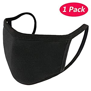 KISSBUTY 1 Pack Unisex Mouth Mask Anti Dust Face Mouth Mask, Black Cotton Face Mask for Cycling Camping Travel (1)