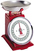 Terraillon Balance de Cuisine, Tare Manuelle, Grand Cadran, Portée 5 kg, Tradition 500, Rouge