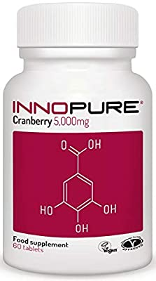 Cranberry Tablets - Natural Cranberry Extract 5,000mg Per Tablet - Vegan Society Approved - 60 Tablets - Made in the UK by Innopure