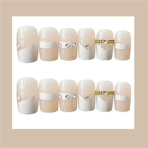 CSCH Faux ongles Couleur blanche blanche française avec décoration de chaîne dorée 3d faux ongles mariée française faux ongles 24pcs décoration mignon