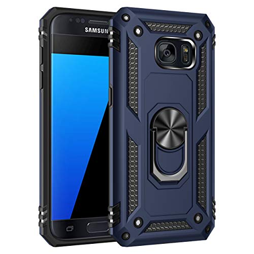 S7 Case Military Protection with Built-in 360 Rotation Kickstand Support Car Magnetic Holder for Samsung Galaxy S7 Blue