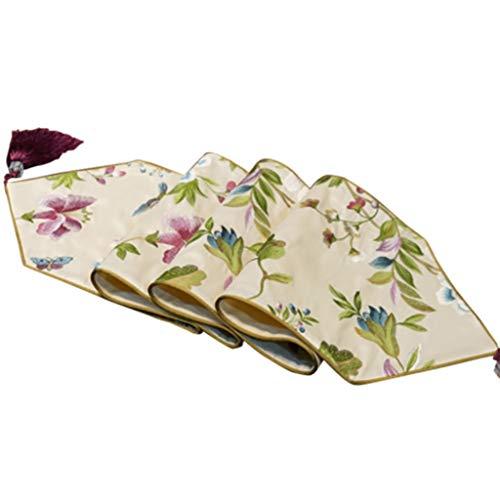 Vintage Bloemen Tafelloper borduurwerk Tassel tafelloper Tapestry Dekking van de Doek for Wedding Party Tafelkleed-4.13 (Size : 30 * 180cm)
