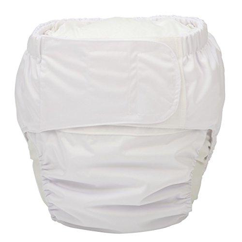 Sigzagor Große Stoffwindel für Erwachsene, wiederverwendbar, waschbar bei Inkontinenz, mit Haken und Schlaufe, weiß (groß 66 cm bis 127 cm)