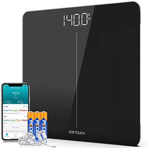 Bluetooth Body Weight Scale Smart Digital Bathroom Scales for Home with Step-On Technology, BMI,Smart Phone Connected,400 lb, Body Tape Measure and Batteries Included