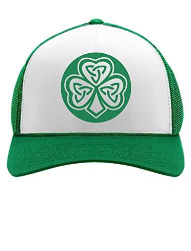 Celtic Clover Irish Shamrock Gift for St. Patrick's Day Trucker Hat Mesh Cap One Size Green/White