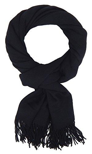 Ella Jonte Écharpes foulard d'homme hiver élégant et tendance de la dernière collection by Casual-style noir uni coton