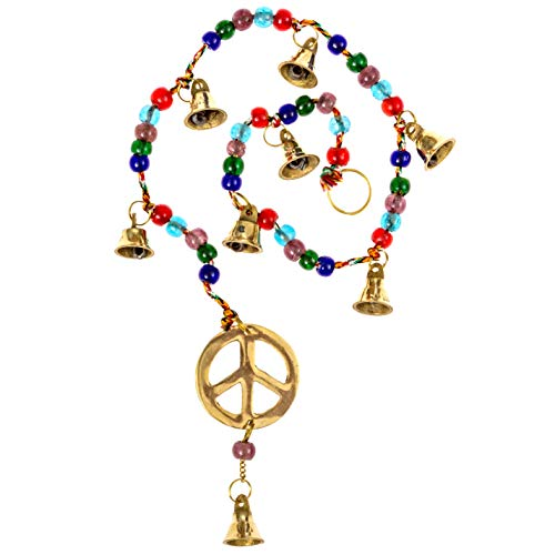 Alternative Imagination Peace Sign Brass Bell Wind Chimes, 30 Inches Long