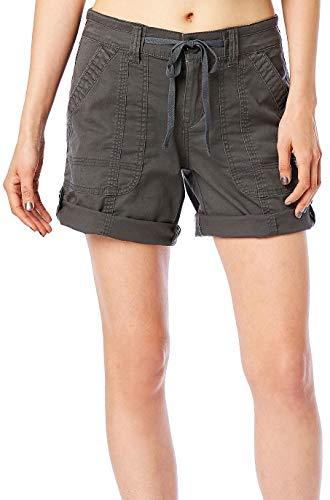 UNIONBAY Women's Stretch Twill Convertible Length Solid Short, Lt Galaxy Grey, 10