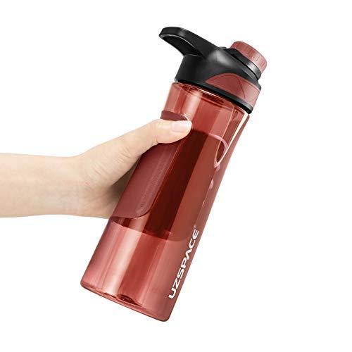 DingHome Botella de Agua BPA Agitadora Gratuita Deporte portátil Portable Copa de plástico Gimnasio Hombres Hombres Mujeres Estudiante Tour al Aire Libre Tour Botella (Color : 9010 Red 700ML)