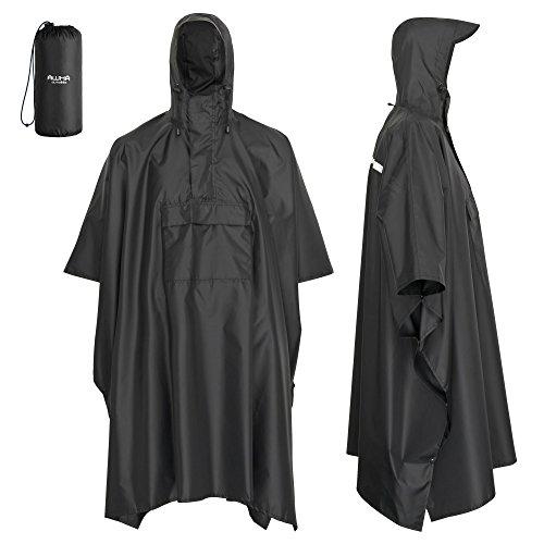 AWHA Regenponcho schwarz/Unisex – der extra Lange Regenschutz mit Reißverschluss und Brusttasche