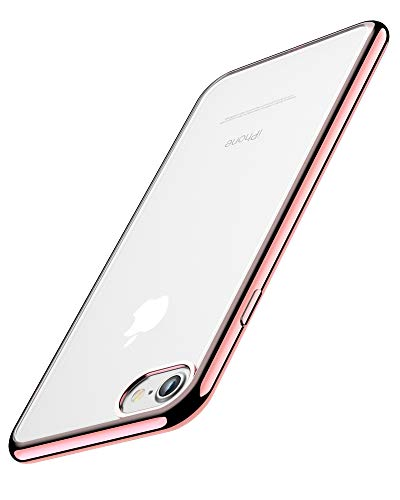 "Cover per iPhone 6, Cover per iPhone 6S, Joyguard Custodia per iPhone 6/6S Trasparente Cristallo Silicone Morbido Sottile Flessibile TPU con Paraurti di Effetto Metallico - 4.7"" - Rosa"