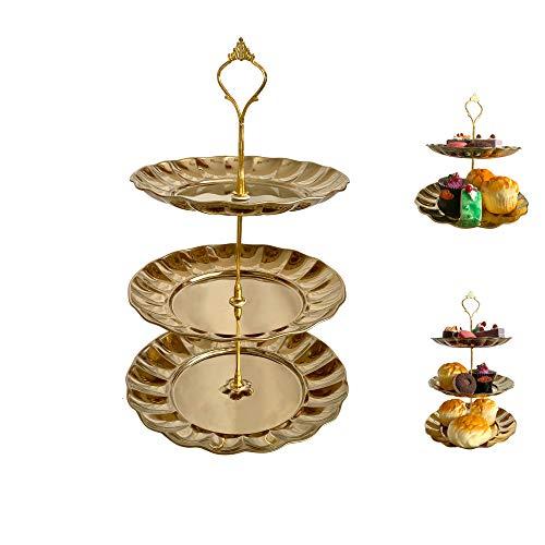ANPI 3 Etagen Obst Kuchen Dessert Platte Ständer mit Edelstahl für Candy Buffet Hochzeit Zuhause Party Aktivitäten
